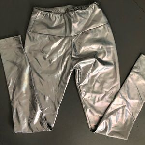 Silver pleather leggings